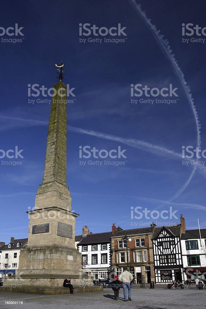 English town market square and war memorial, Ripon, Yorkshire stock photo