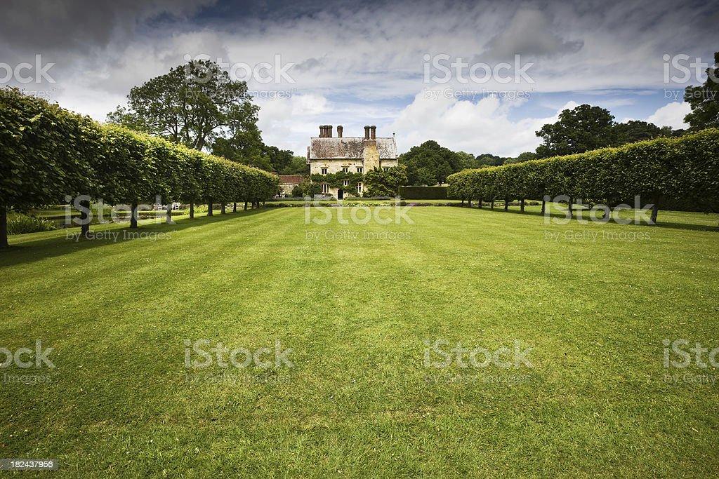 English Tudor Mansion and Grounds stock photo