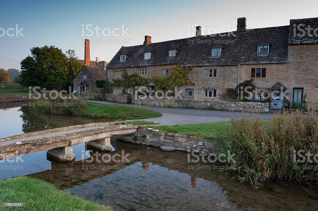 English village at sunrise. royalty-free stock photo