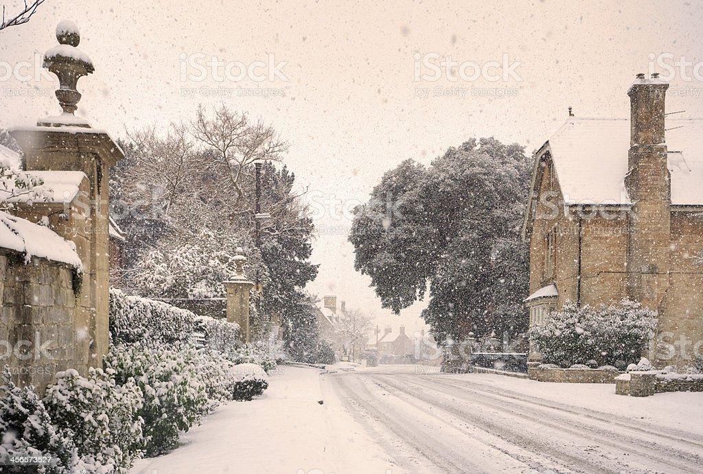 English village with snow stock photo