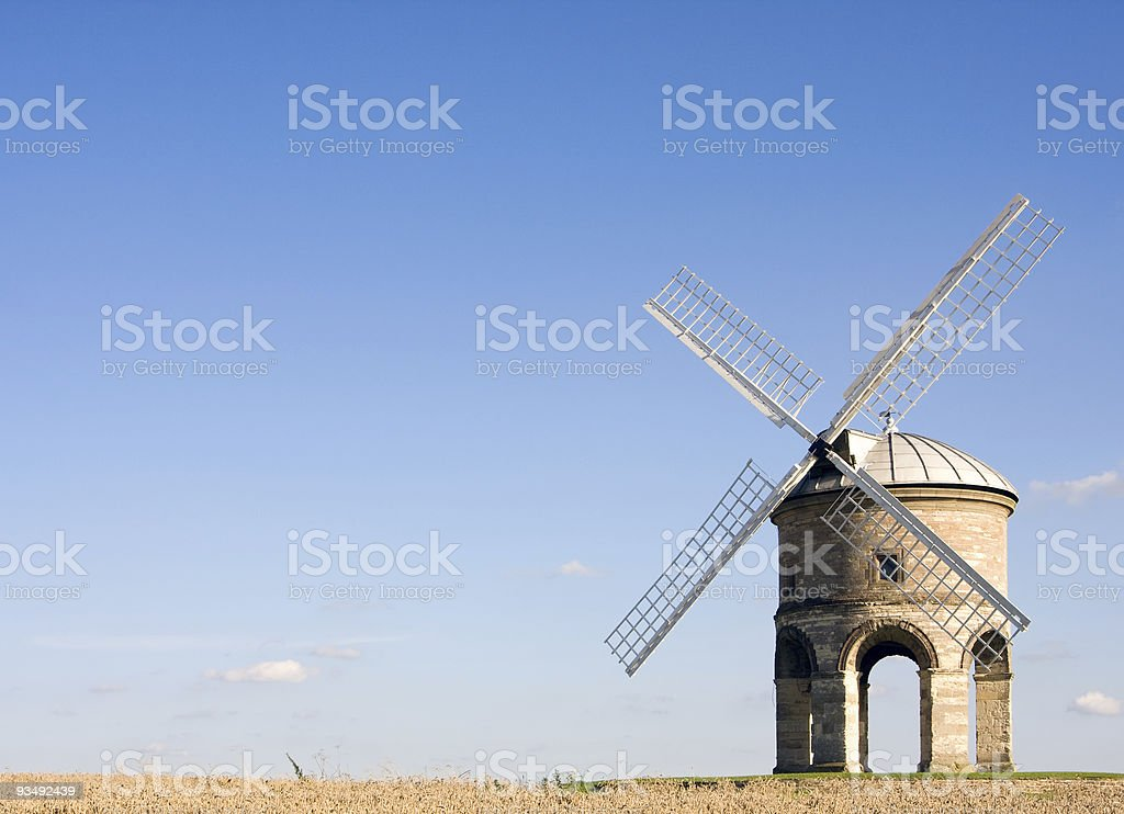English windmill in summer with blue skies stock photo