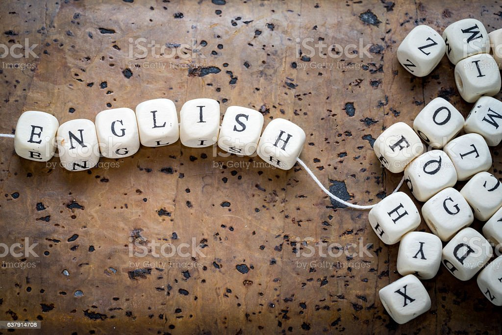 english word on a wooden cubes stock photo