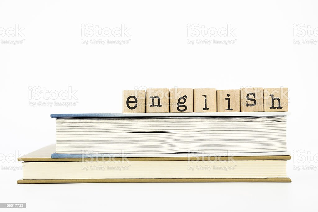 English wording and books stock photo