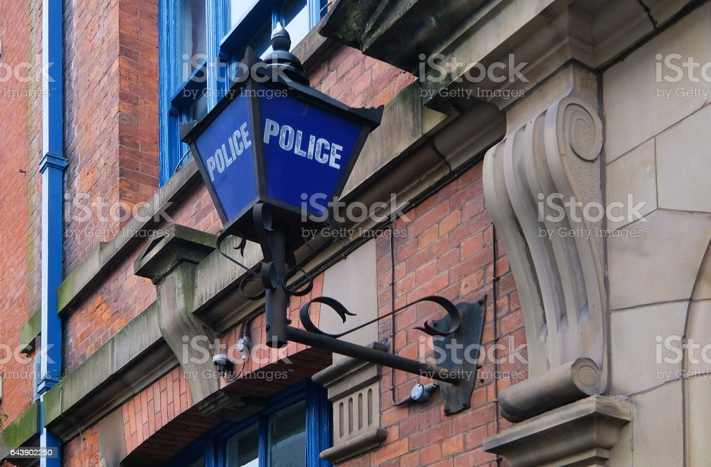 Englsih Police Office and Traditional Blue Lamp stock photo