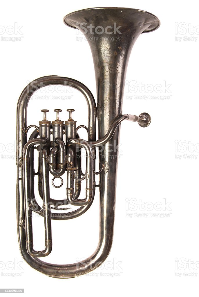 Engraved Antique Baritone Horn stock photo