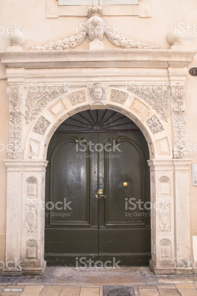 Engraved door stock photo