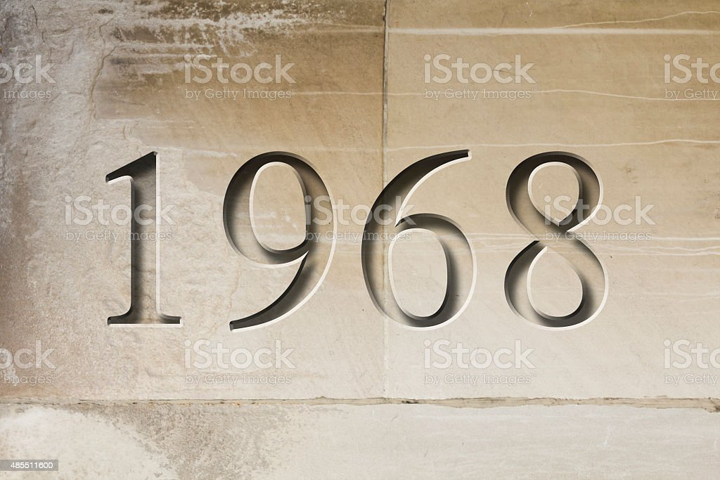 Engraved Historical Year 1968 stock photo