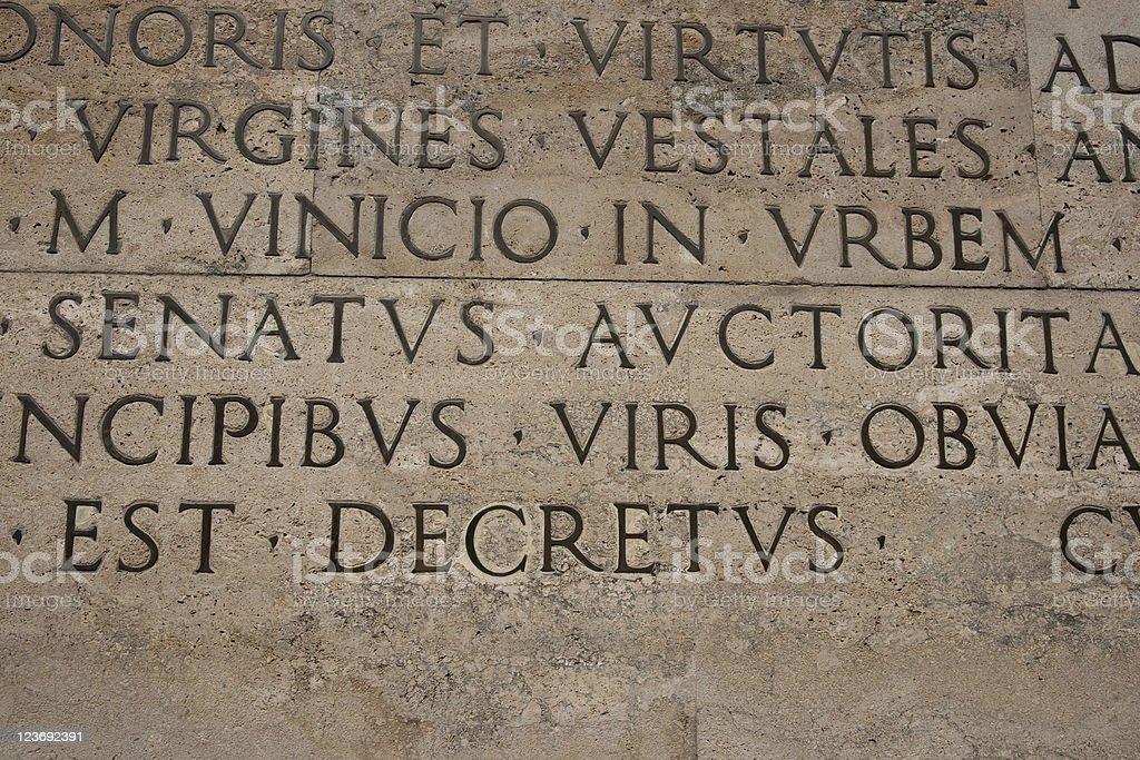 Engraved in stone. Roman inscription.Rome stock photo