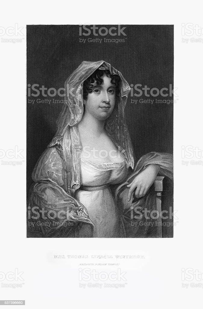 Engraved Portrait of Mrs. Thomas Winthrop, Elizabeth Temple, Circa 1780 stock photo