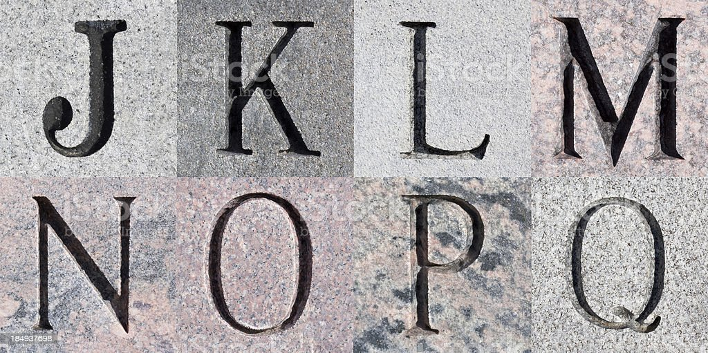 Engraved Stone Alphabet Series royalty-free stock photo