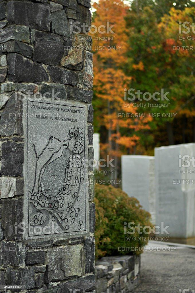 Engraved Stone Column at Vietnam Veterans Memorial Park stock photo