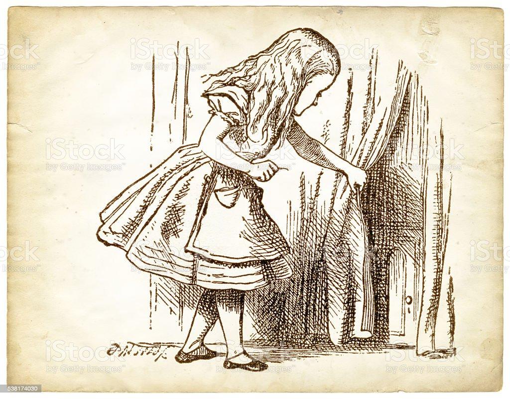 Engraving Alice in Wonderland stock photo