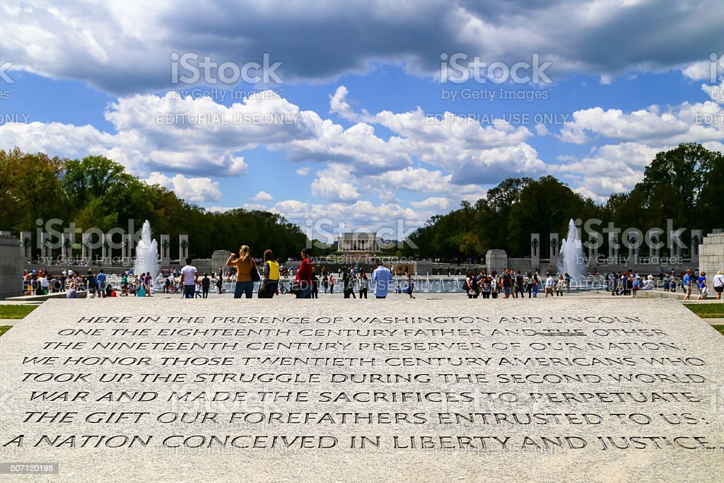 Engraving at the National World War II Memorial stock photo