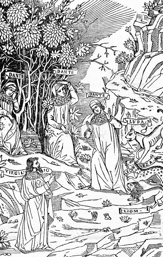 Engraving from Divine Comedy royalty-free stock photo