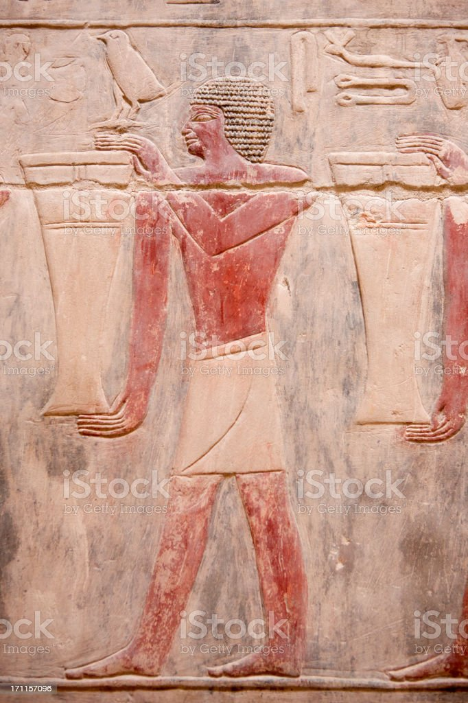 Engraving from egyptian grave stock photo