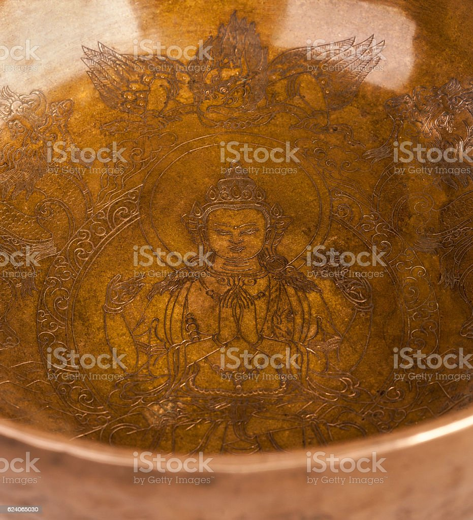 Engraving of a bodhisattva of Avalokiteshvara. stock photo