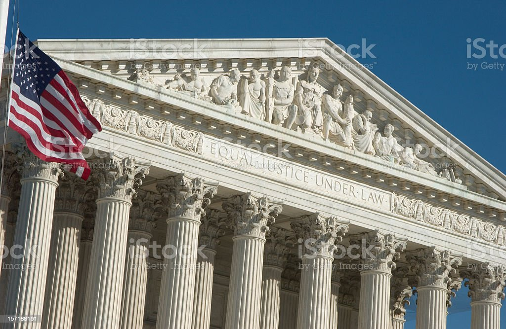 Engraving of justice principals of Supreme Court stock photo