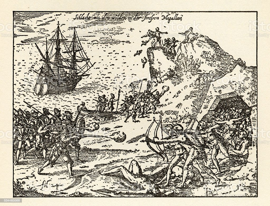 Engraving of Van Noort Fighting the Native Indians, 1599 stock photo
