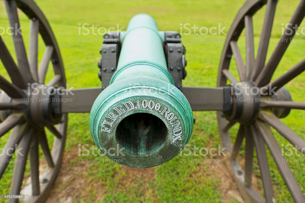 Engraving on Civil War Cannon Chickamauga Battlefield stock photo