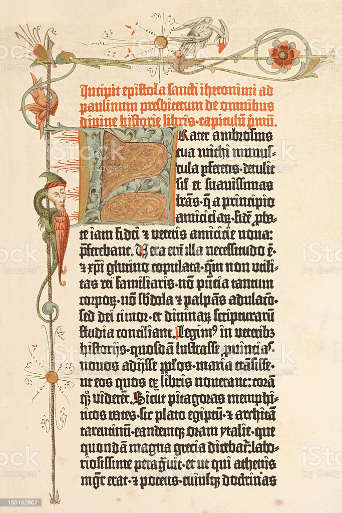 Engraving page of Gutenberg bible printed in 1455 stock photo