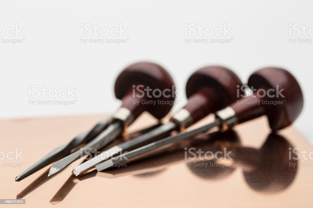 Engraving tools stock photo