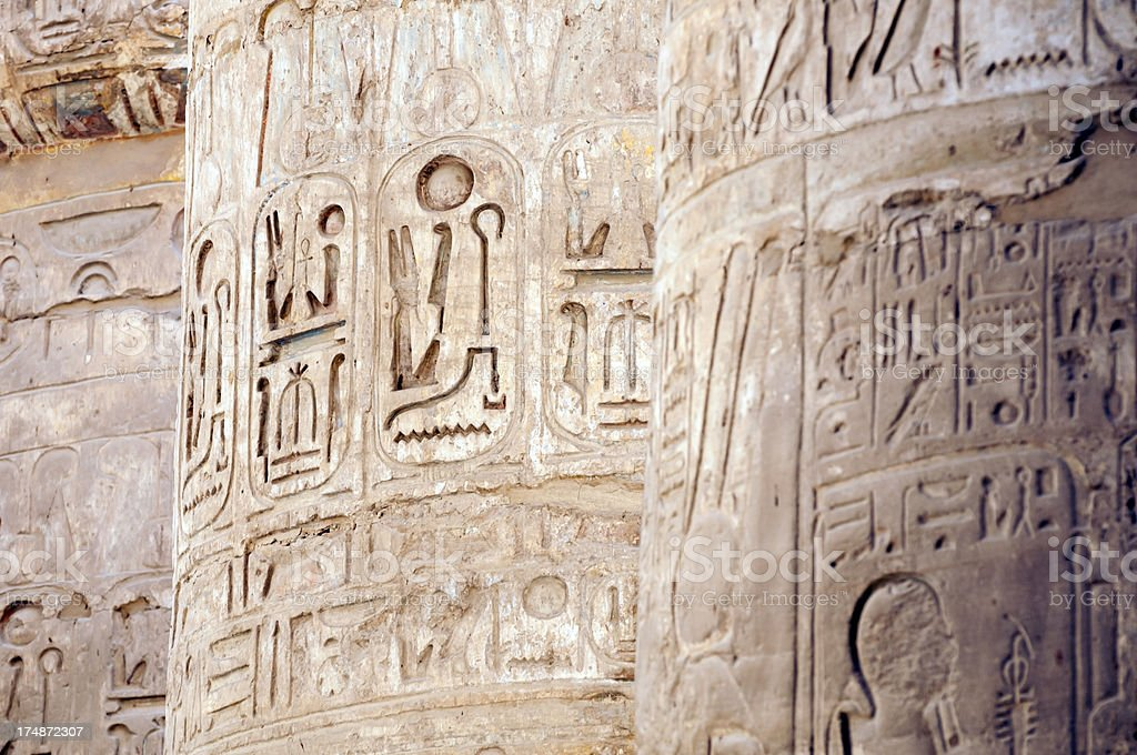 engravings at Great Hypostyle Hall - Temple of Karnak royalty-free stock photo