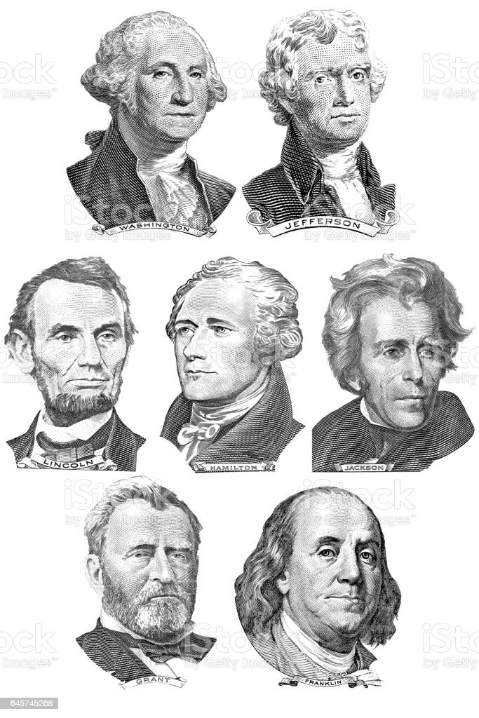 Engravings of portraits of seven presidents stock photo