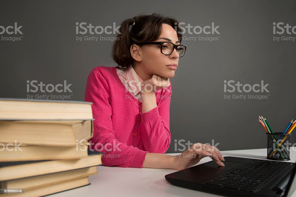 Engrossed in web research stock photo