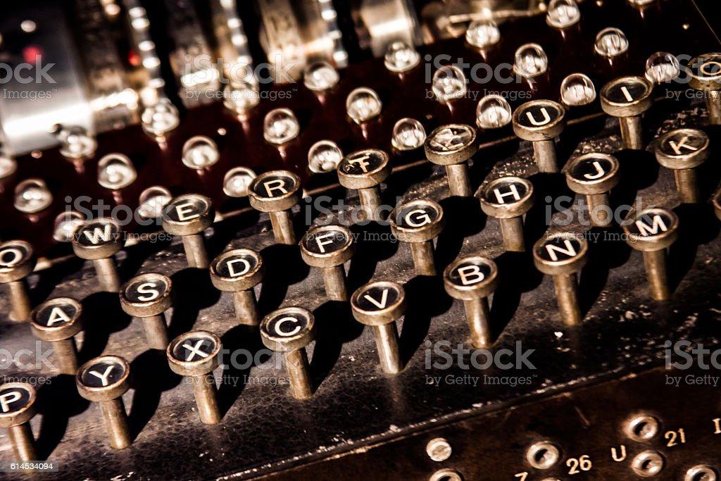 Enigma cypher machine keyboard stock photo