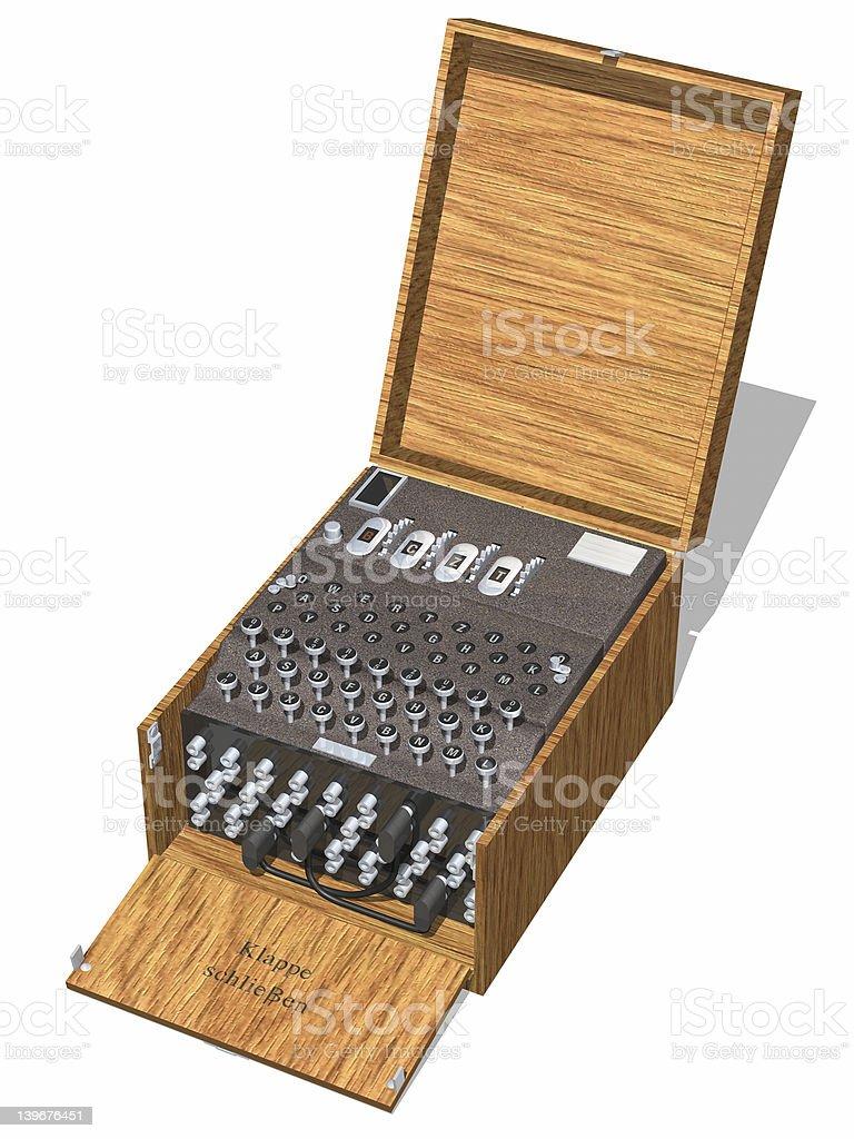 Enigma machine inside wooden box stock photo