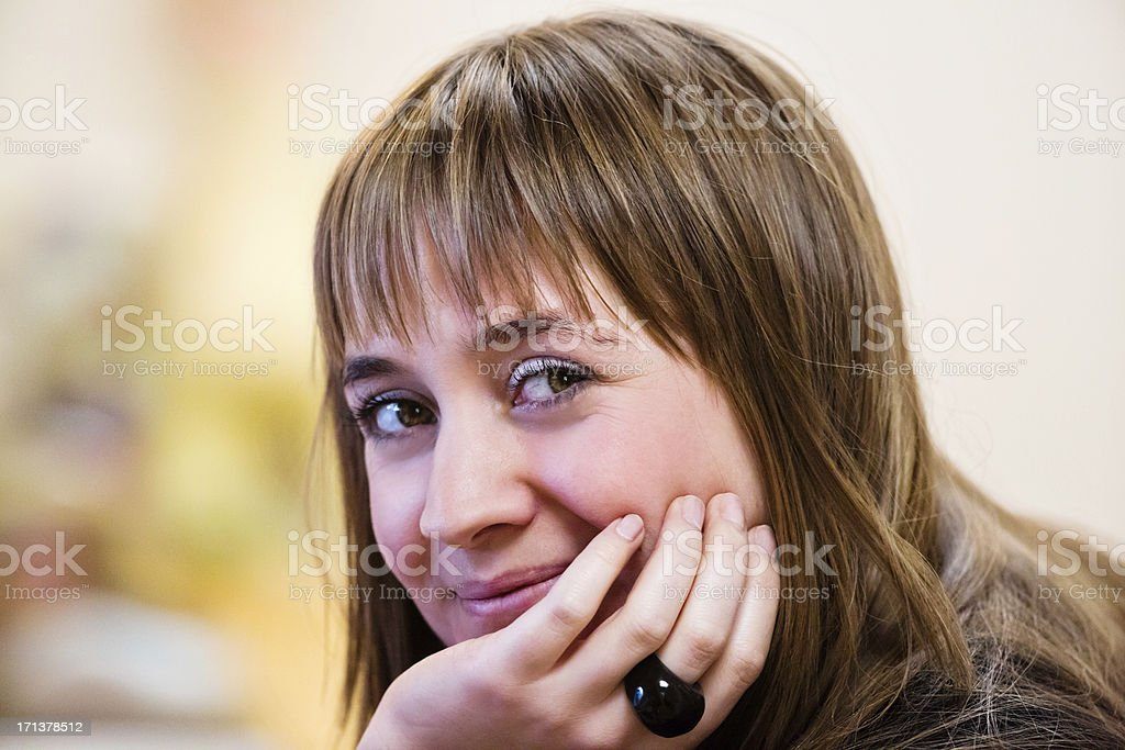 Enigmatic young woman stock photo