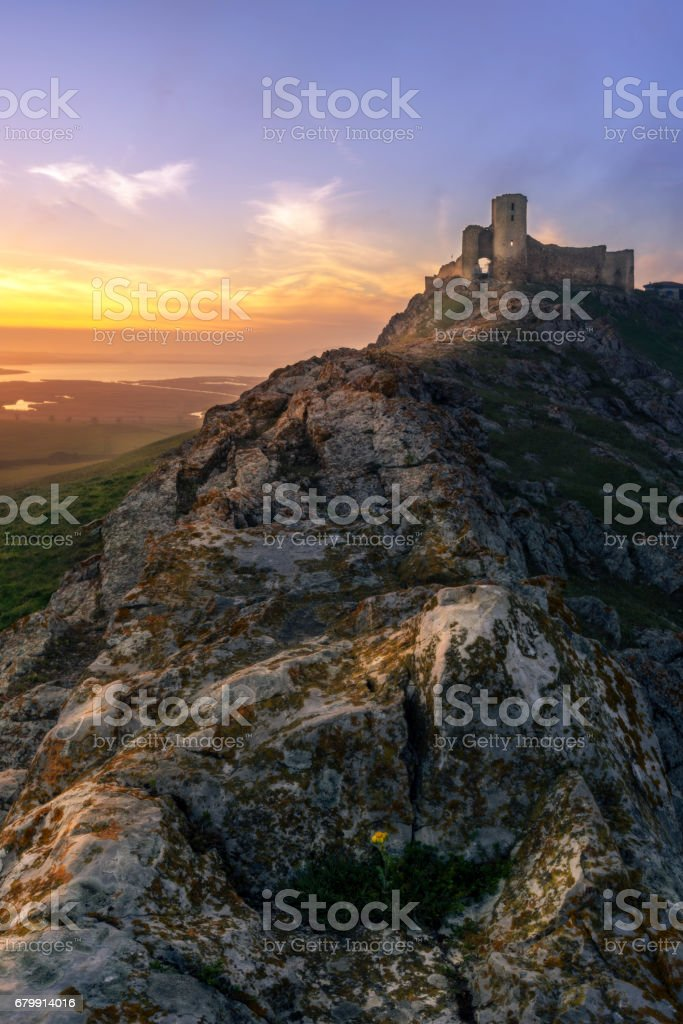 Enisala fortress at sunset, Dobrogea, Romania stock photo