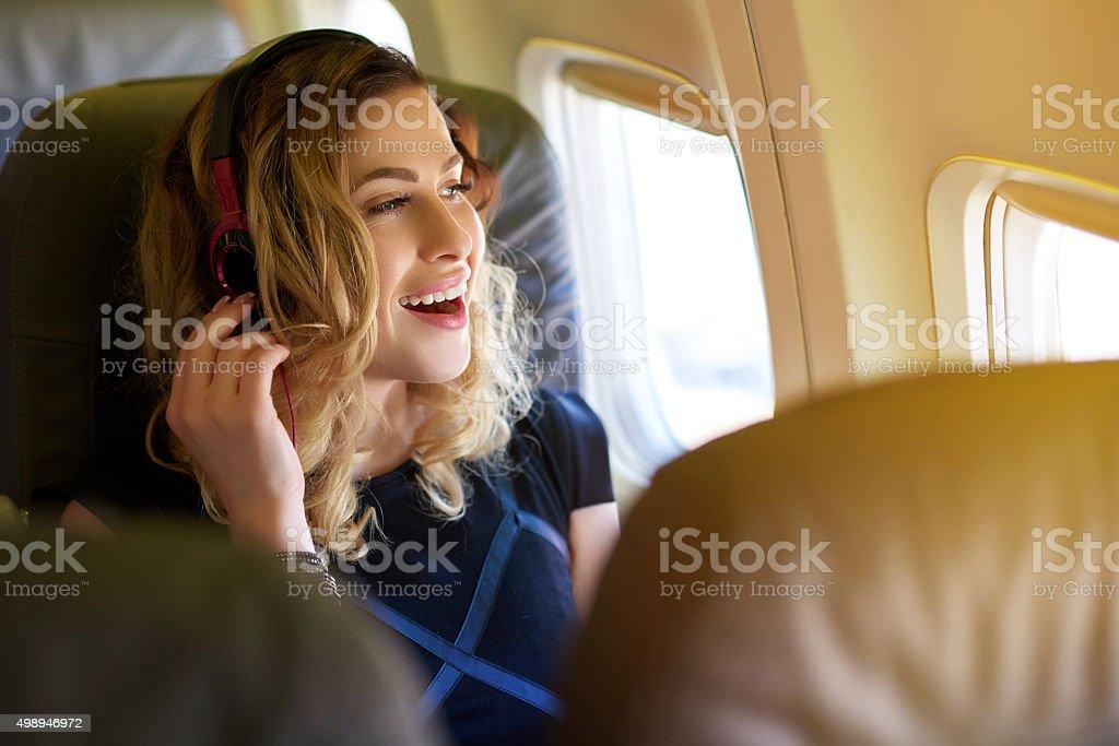 enjoy a relaxing flight stock photo