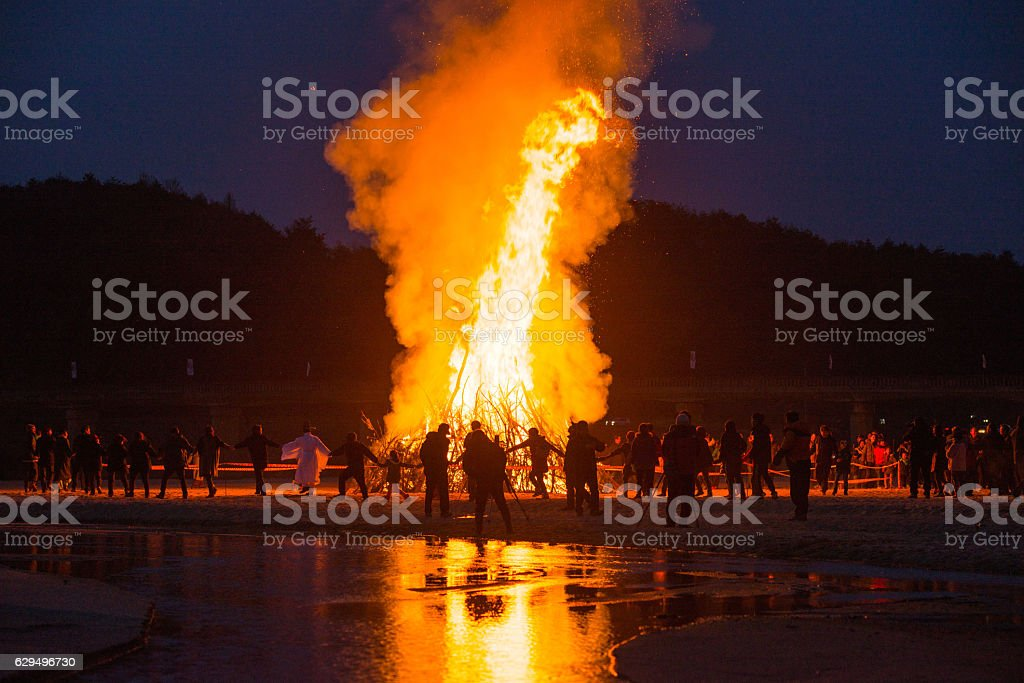 Enjoy and wish in campfire. stock photo