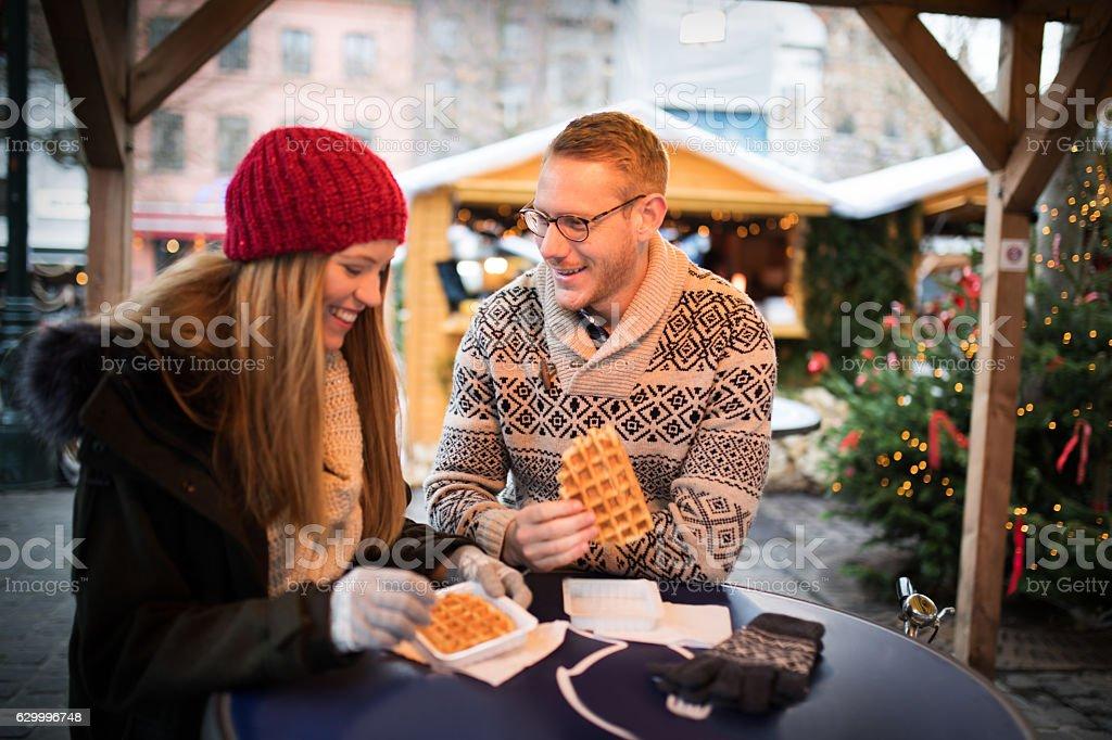 Enjoy Belgium waffles stock photo