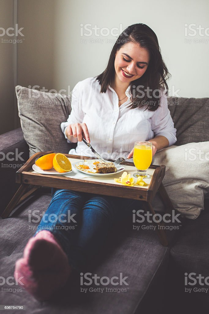 Enjoy in breakfast stock photo