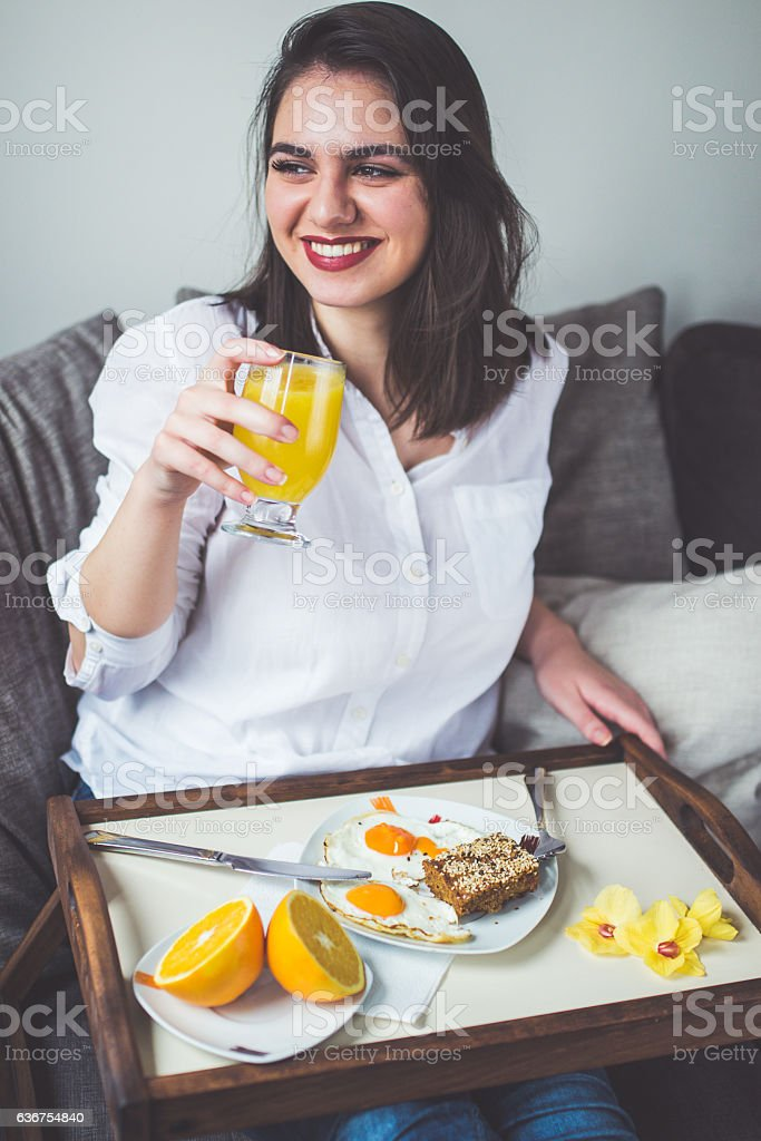 Enjoy in first drink in the morning stock photo
