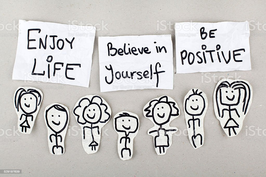 Enjoy Life Believe in Yourself Be Positive stock photo