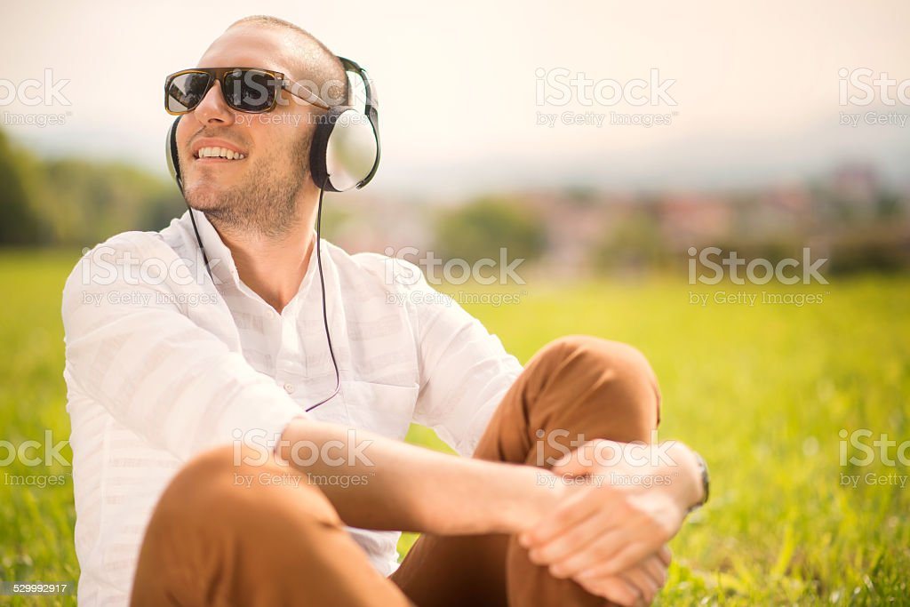 Enjoy music stock photo