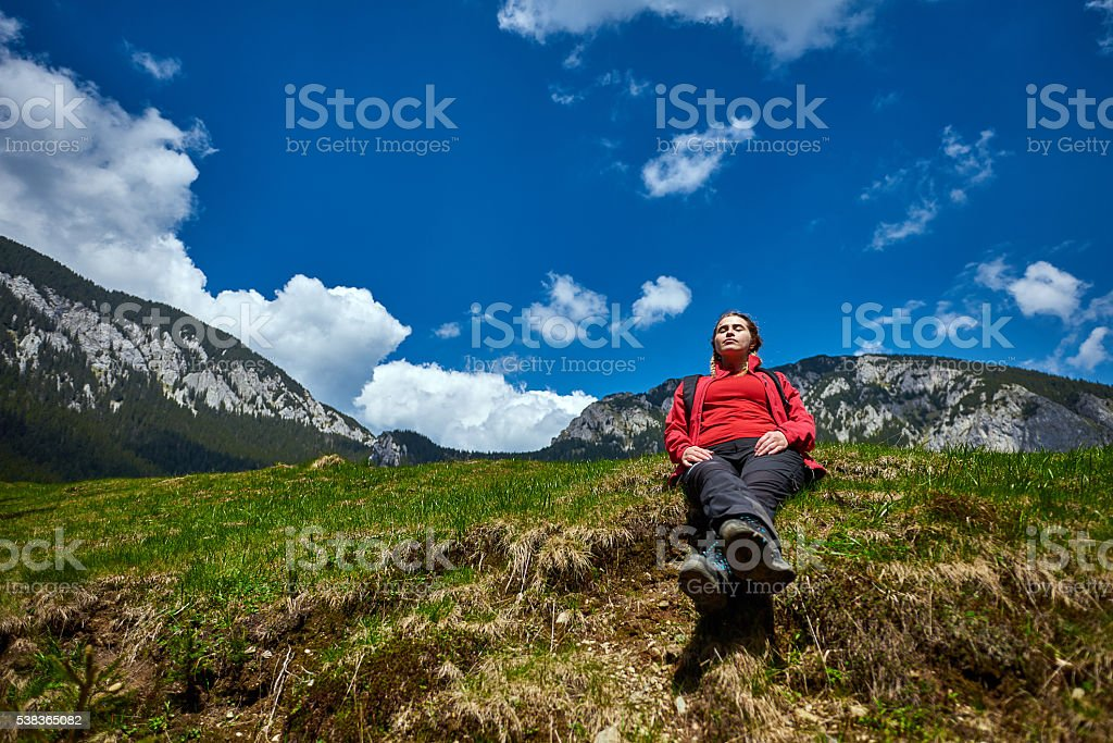 enjoy my moment of silence in nature stock photo