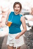 enjoy my orange juice in summer day
