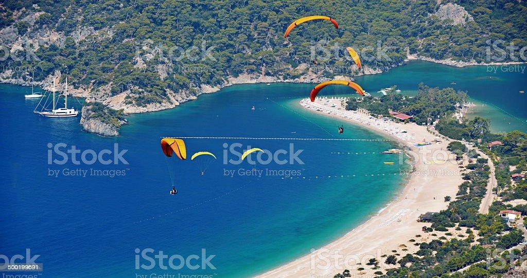 Enjoy paragliding in Oludeniz stock photo