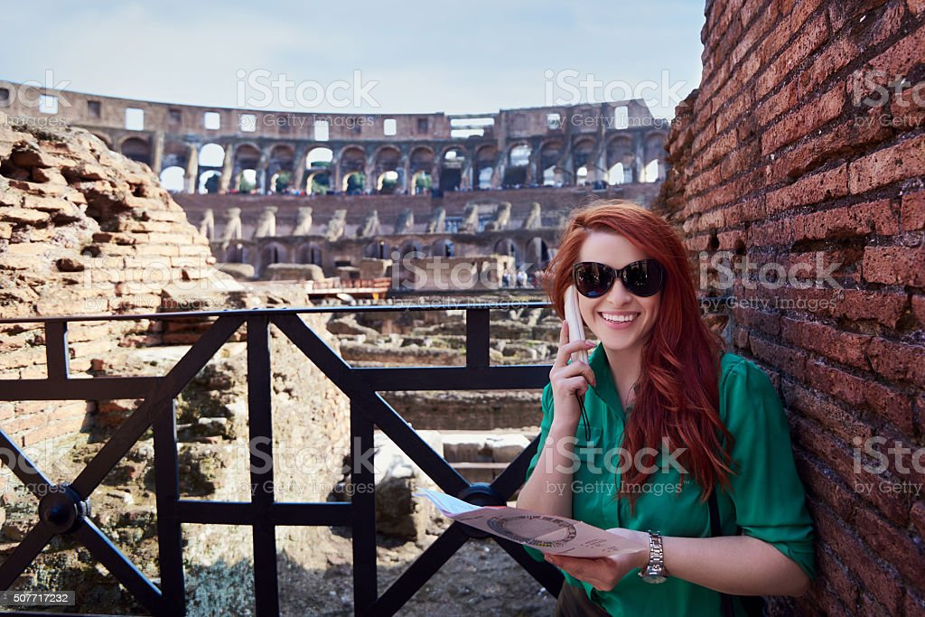 enjoy the Colliseum visit stock photo