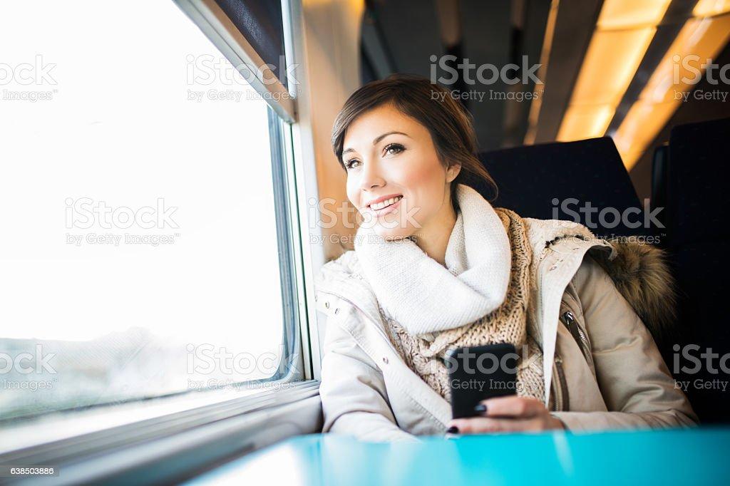 Enjoy the journey by train stock photo