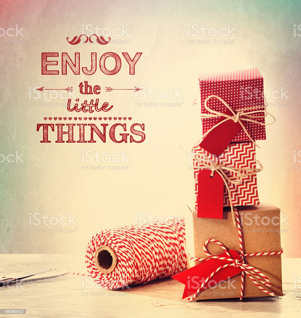 Enjoy the little things with small gift boxes stock photo