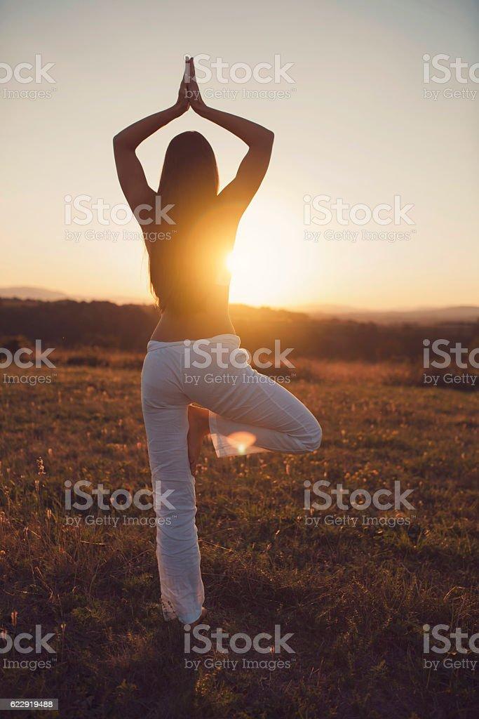 Enjoy the power of the sun stock photo