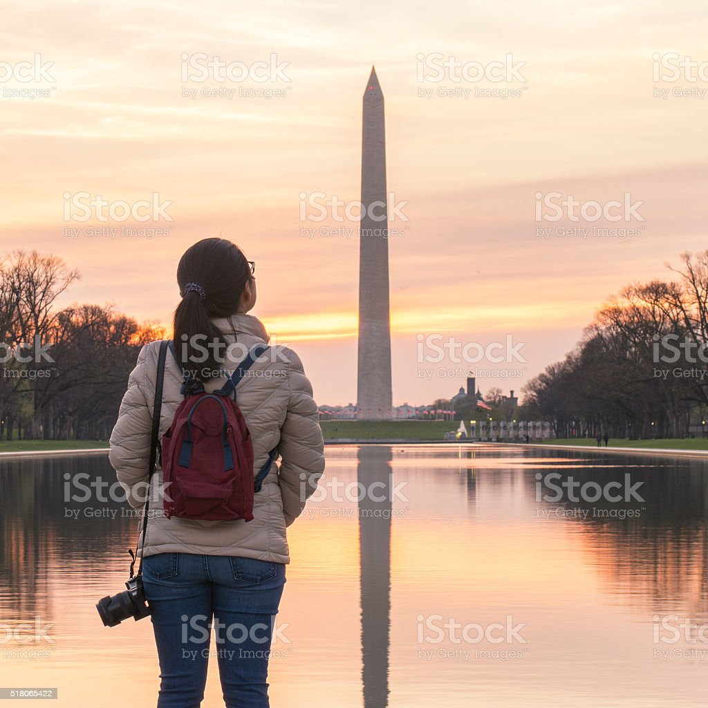 Enjoy Washington DC sunrise stock photo
