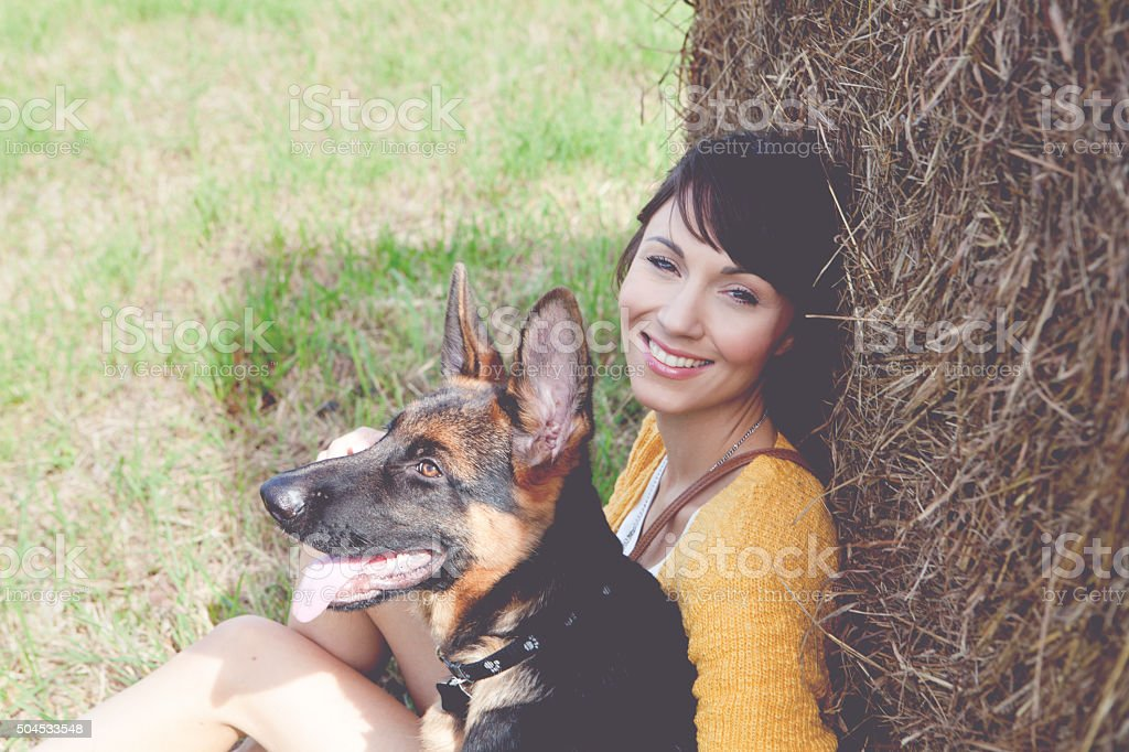 Enjoy with puppy outdoor stock photo