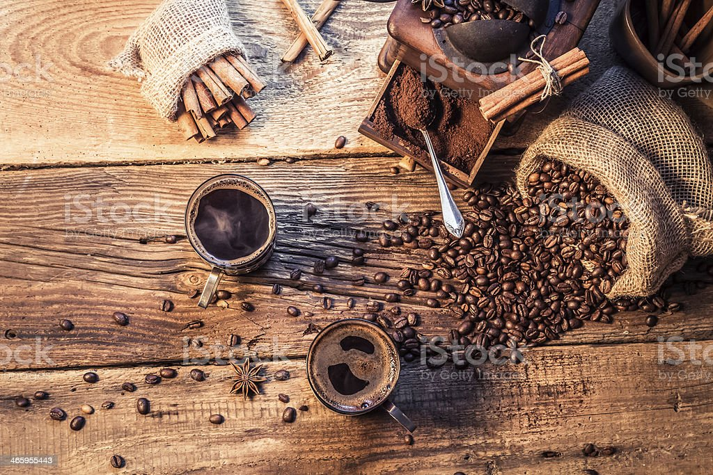 Enjoy your coffee made of grinding grains stock photo