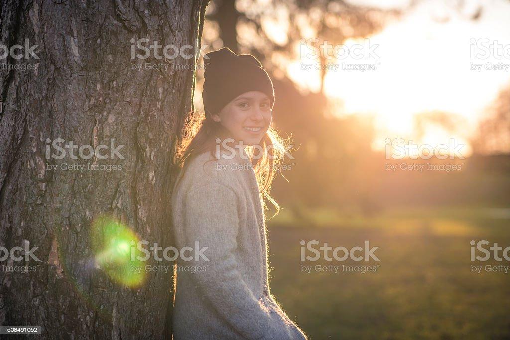 Enjoyin in the quietness of nature stock photo